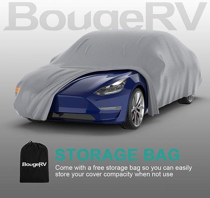 Fibbia Regolabili e Strisce Riflettenti BougeRV Copriauto Tesla Model 3 Impermeabile Antivento per Tutte Le Intemperie Coperture Auto Protezione UV con Cinghie