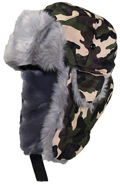 55433e56b74 Best Winter Hats Adult Camouflage Cotton Russian W Soft Faux Fur - Woodland  Camo (