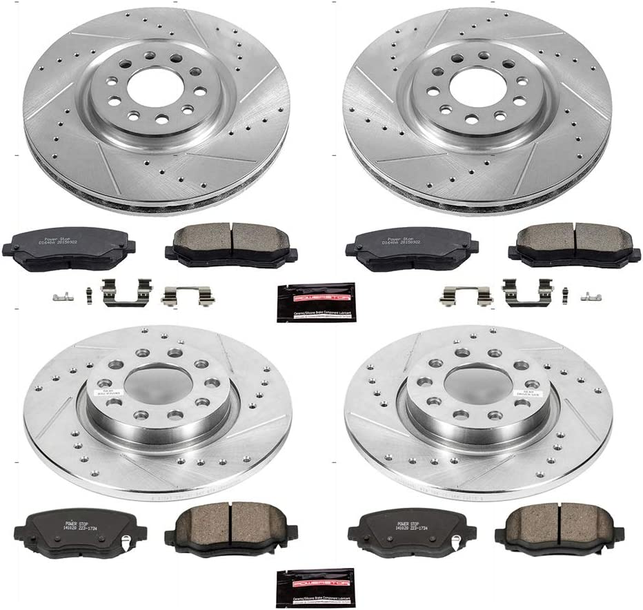 Front and Rear Brake Kit Black Drilled /& Slotted Brake Rotors with Ceramic Pads