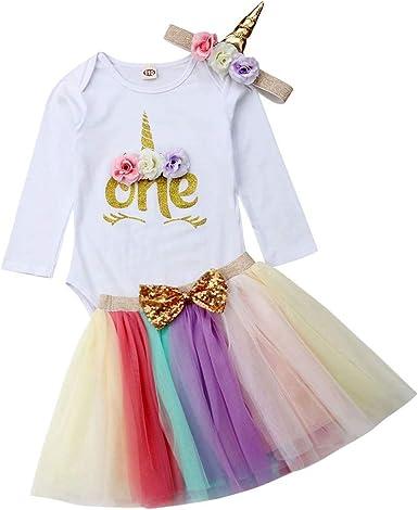 mama stadt Bebé Vestido Cumpleaños Niña 3pcs Unicornio Vestido ...
