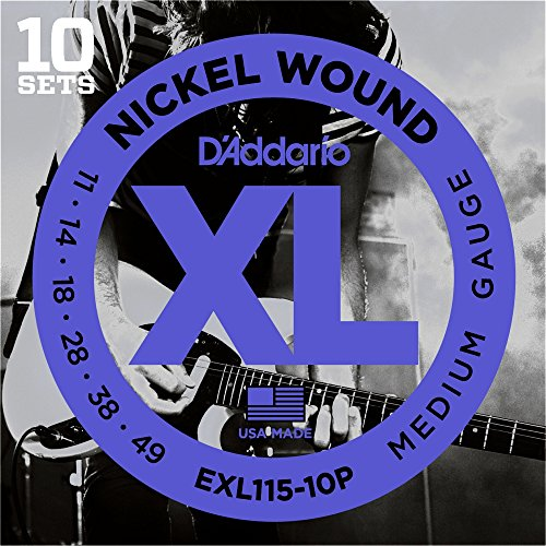 D'Addario EXL115-10P Nickel Wound Electric Guitar Strings, Medium/Blues-Jazz Rock, 11-49, 10 (Guitar Electric Rock)