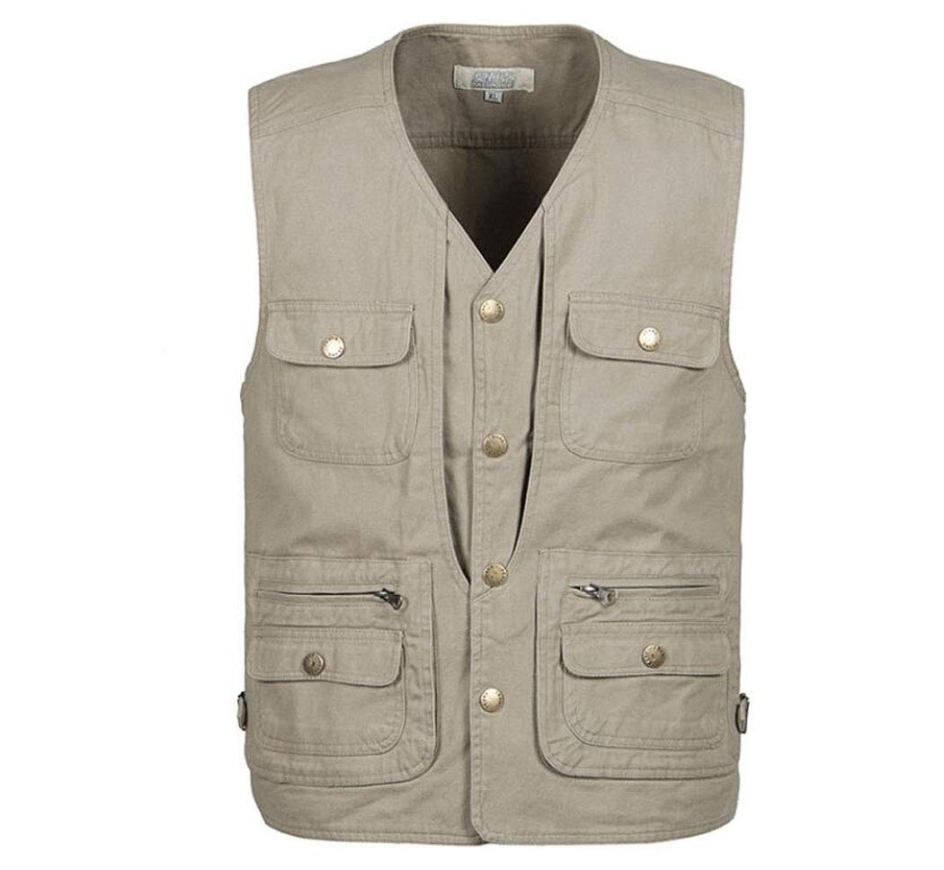 JIANFCR Men's Summer Vest Multi-Pocket Outdoor Leisure Vest Quick-Drying Absorbent Fishing Mountaineering Work Leisure Vest