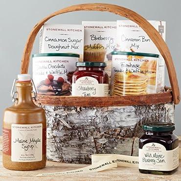 Stonewall Kitchen Family Breakfast Gift with Birch Basket (8 Piece Set)