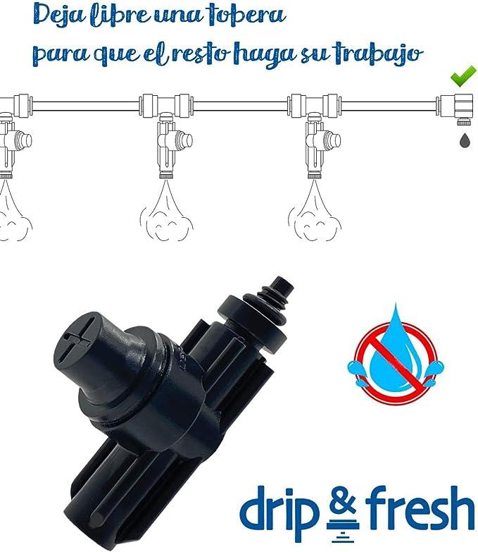 Drip&Fresh C5125-3 - Válvula anti goteo para sistemas de nebulización de agua. Pack de 3 unidades. Compatible con todas las toberas 10/24 de baja ...