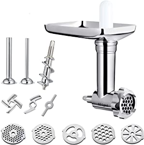 Metal Food Grinder Attachment for KitchenAid Stand Mixers Includes Sausage Stuffer Tubes,Durable Meat Grinder Food Processor Attachment for kitchenAid,With a wealth of accessories