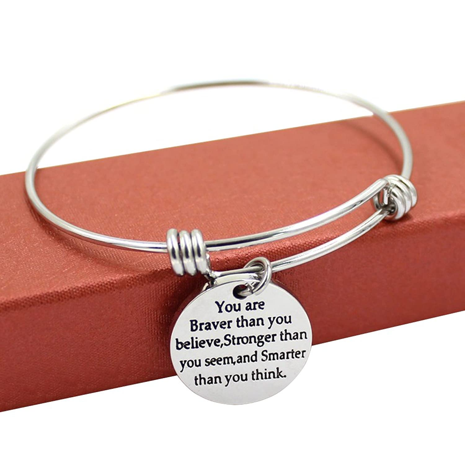 Expandable Bangle Bracelets You're Braver Stronger Smarter than you think Inspirational Gift for Women for Men Aaha2