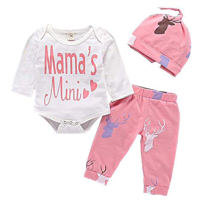 6aa2dba47269 Amazon.com  Newborn Baby Girl Deer Print Outfits Infant Mamas Mini ...