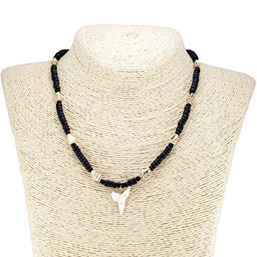 BlueRica Mako Shark Tooth Pendant on Black Coconut Beads & Tiger Nassa Shells Necklace