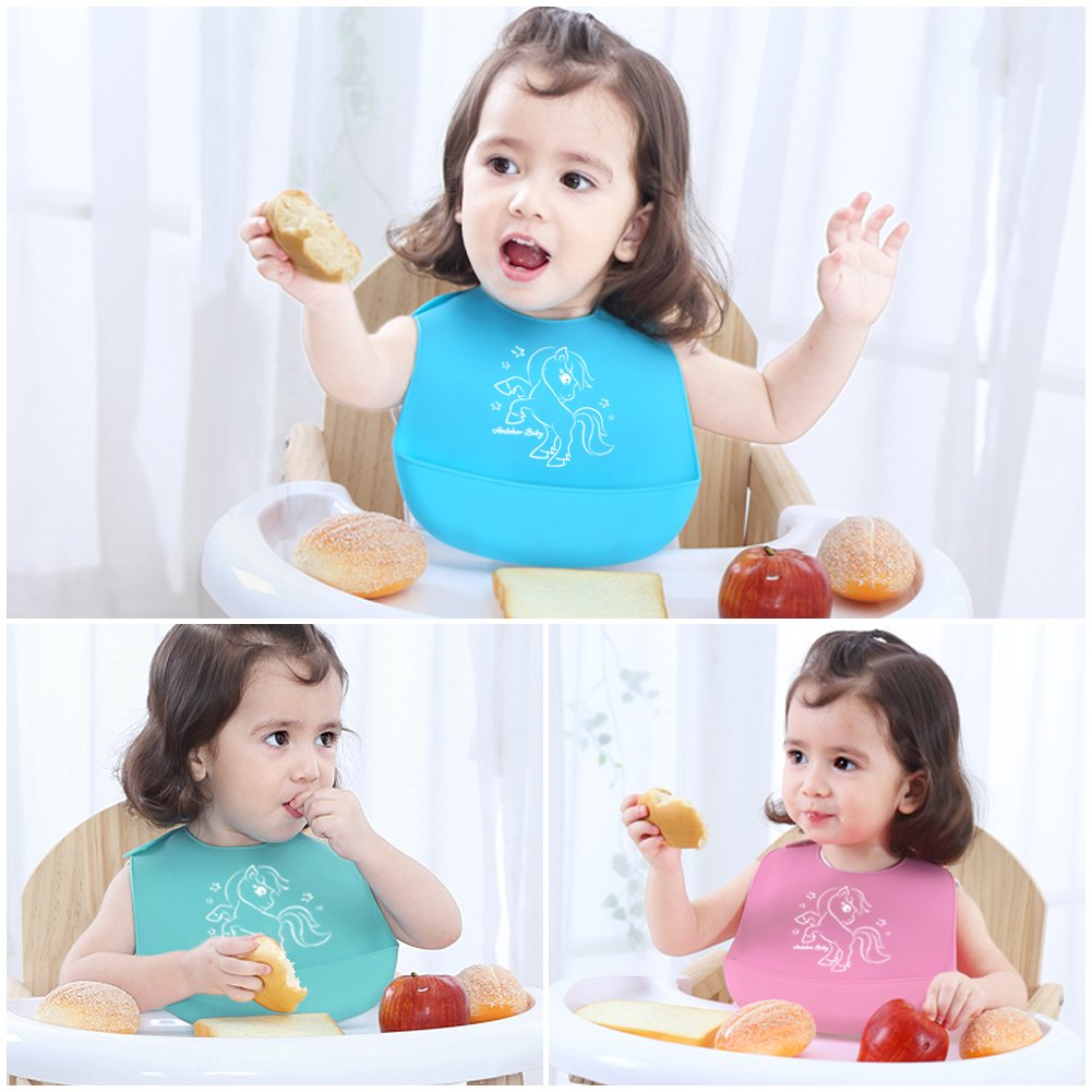 Amteker Waterproof Super Soft Silicone Baby Bibs - Easily Wipes Clean - Comfortable Food Grade Material Bibs for Infant Toddler (Blue & Green & Pink)