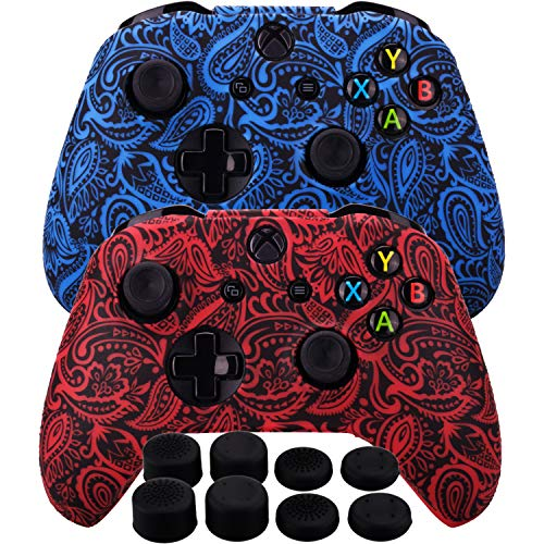 (MXRC Silicone Rubber Cover Skin Case Anti-slip Water Transfer Customize Camouflage for Xbox One/S/X Controller x 2(Leaves Red + Blue) + FPS PRO Extra Height Thumb Grips x 8)