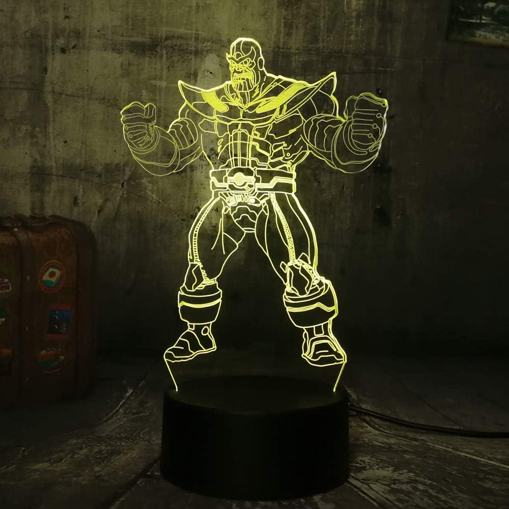 End Game Marvel The Avengers Big Villain Thanos 3D LED RGB 7 Color Change Night Light Baby Sleep Lamp Home Decor Boy Kid Christmas Gift(Thanos)