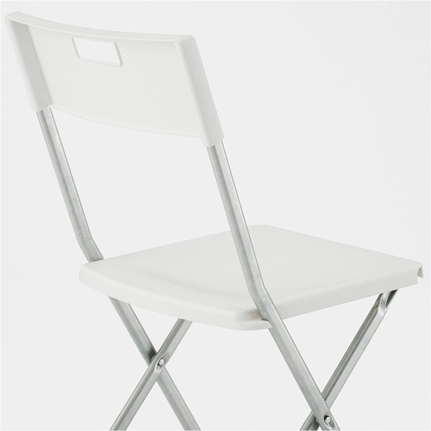 MBI Folding chair White Width: 41 cm Assembled size: Tested for: 100 kg Height: 78 cm Depth: 45 cm