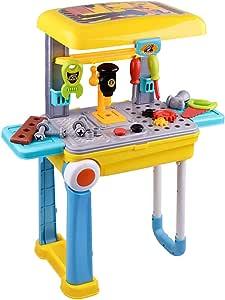 K9CK Banco de Trabajo Infantil, 23 Piezas Caja de Herramientas Maleta Plegable Juguetes con Taladro/Atornillador Juguete para niños de 3 años: Amazon.es: Juguetes y juegos