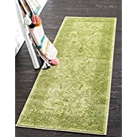 Unique Loom La Jolla Collection Light Green 3 x 10 Runner Area Rug (2 7 x 10)
