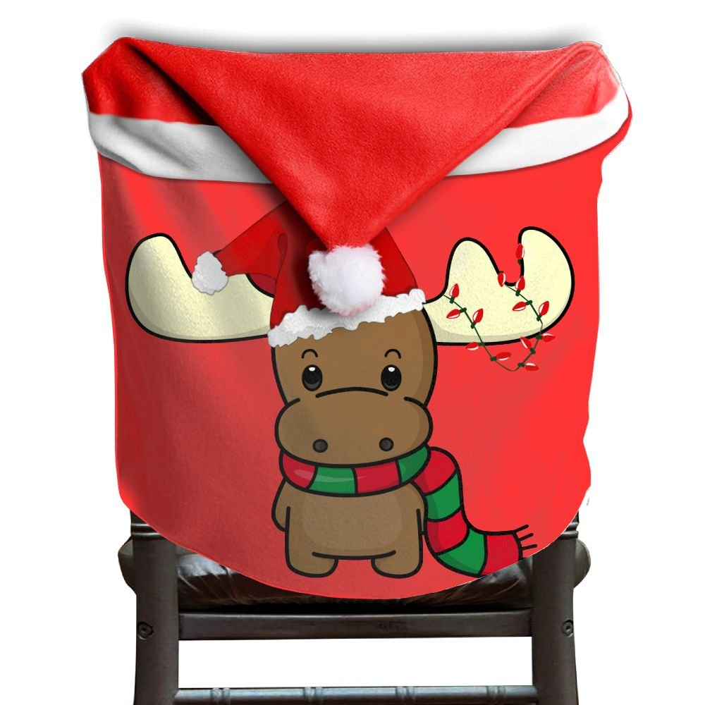 4 Pcs Happy Chirstmas Reindeer Christmas Chair Back Cover Kitchen Chair Slip Covers Santa Hat