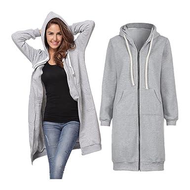 cff10e17375d1 Palarn Fashion Coat-Women Warm Outwear-Zipper Open Hoodies Sweatshirt-Long  Jacket Tops