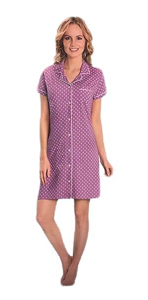 Damen Nachthemd mit Knopfleiste Nachtwäsche Schlafkleid Kurzarm kurzes Kleid Schlafshirt Nachtkleid Shirt mit Kragen
