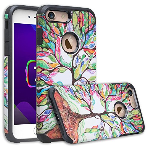 [GW USA] Hybrid Dual Layer Phone Case Compatible for IPhone 8 Plus Case, iPhone 7 Plus Case [Shock Absorption] Defender Protective Case Cover for iphone8/7 Plus - Colorful Tree