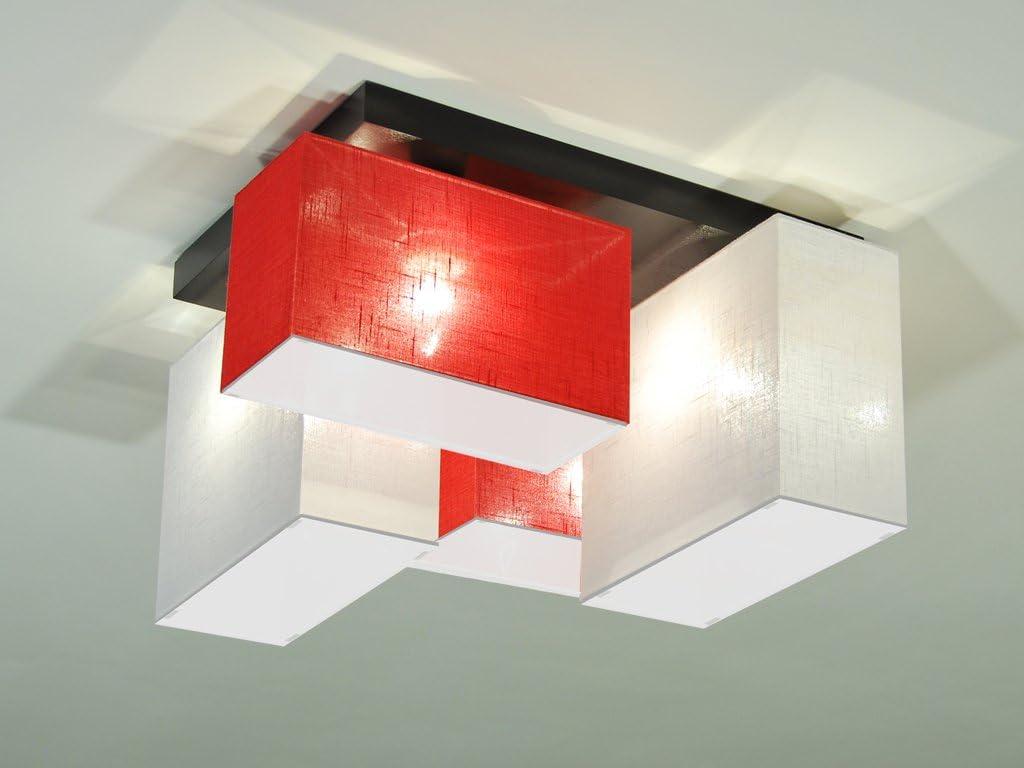 Wei/ß//Wei/ß Deckenlampe Deckenleuchte mit Blenden BLEJLS44WEWED Leuchte Lampe 4-flammig Holz Kinderzimmer Wohnzimmerlampe Schlafzimmerlampe K/üche Lampe LED-geeignet