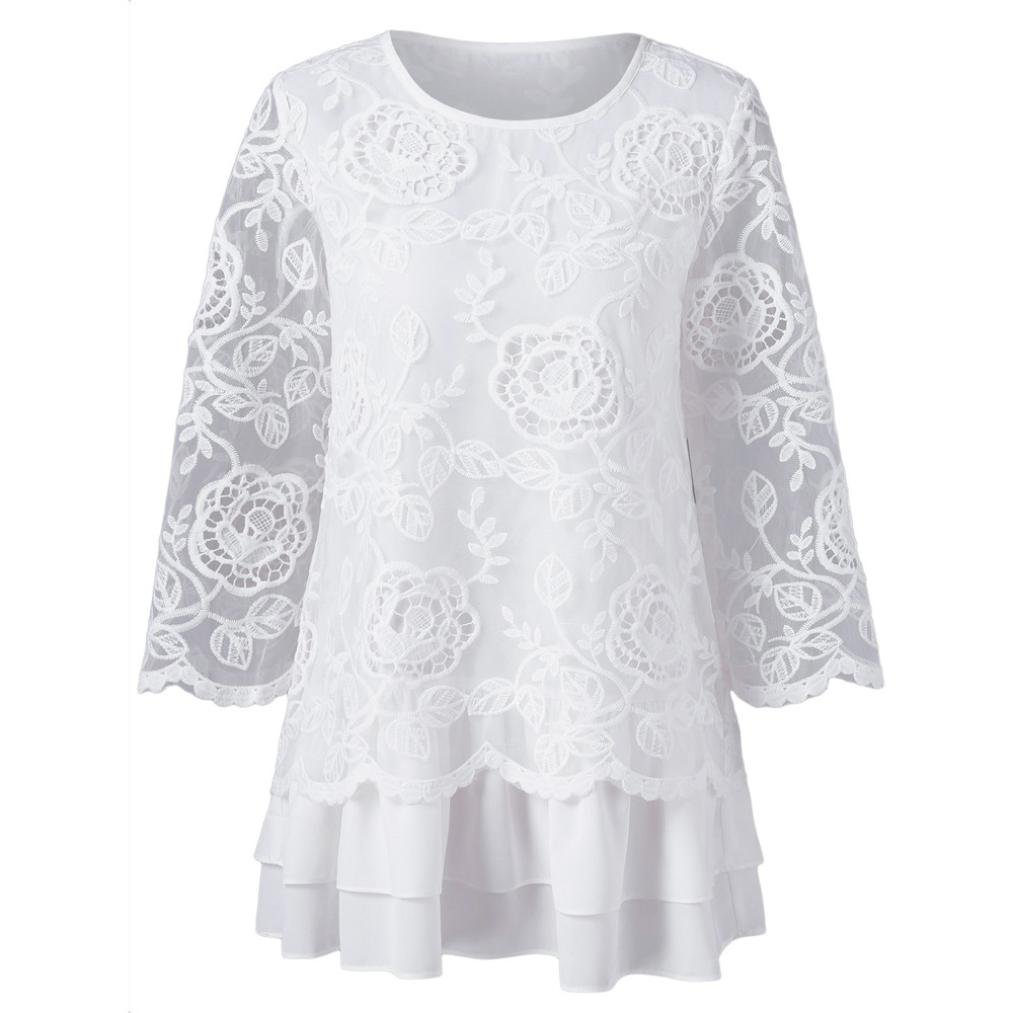 Women Tops Blouse T Shirt Lace Floral Long Sleeve Round Neck Loose Tee T-Shirt Tops Blouse (L, White)