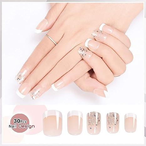 Doreliss uñas postizas 30 Pcs Francia Consejos corto uñas falsas de Pegamento adhesivo de doble cara Claro Rosa