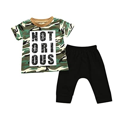 DIGOOD Toddler Baby Boys Camouflage Letter T-Shirt Tops+Harem Pants,for 0-4 Years Old,Kids 2Pcs Stylish Outfits Clothes Sets