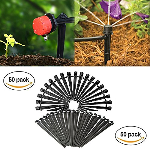 Pipe Support System - QMOEH 50pcs Drip Emitters,Adjustable 360 Degree Water Flow Drip Irrigation System And 50 PCS Support Stakes Perfect for 4 mm/7 mm tubes.