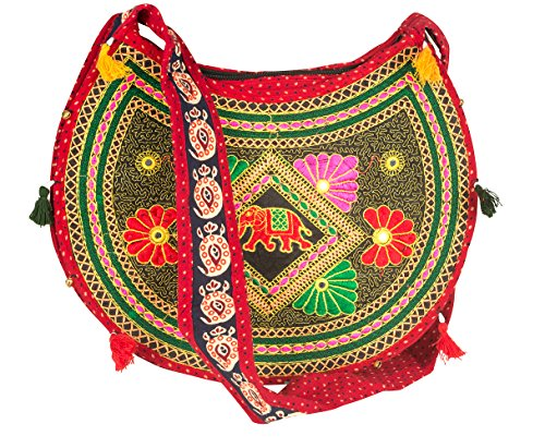 Fair Trade Elephant (Sling Cross body Elephant Hobo Women Messenger Shoulder Bag Red Embroidered Hippie Casual Colorful Medium Small Satchel Tote)