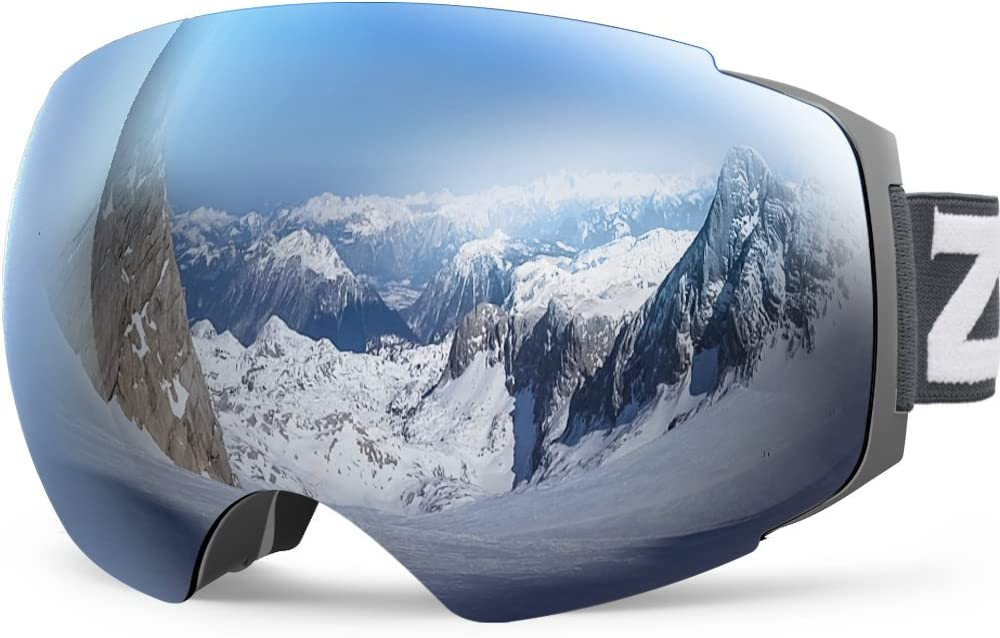 ZIONOR X4 Lunettes de Ski Snowboard Lunettes de Neige Aimant Double Couches Lentille Design Boule Anti Brouillard Anti-UV Sangle antidérapante pour Hommes Femmes
