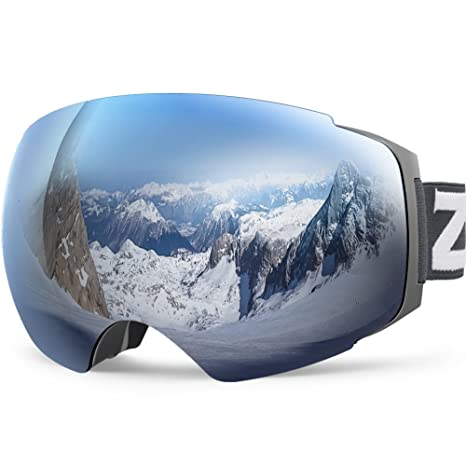 780a18968c05 Amazon.com   Zionor X4 Ski Snowboard Snow Goggles Magnet Dual Layers Lens  Spherical Design Anti-Fog UV Protection Anti-Slip Strap for Men Women    Sports   ...