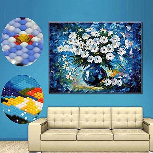 - Handser DIY Diamond Paintings,Flowers Vase Special Shaped Round Diamond Painting Cross Stitch Painting Home Decoration 30x37cm