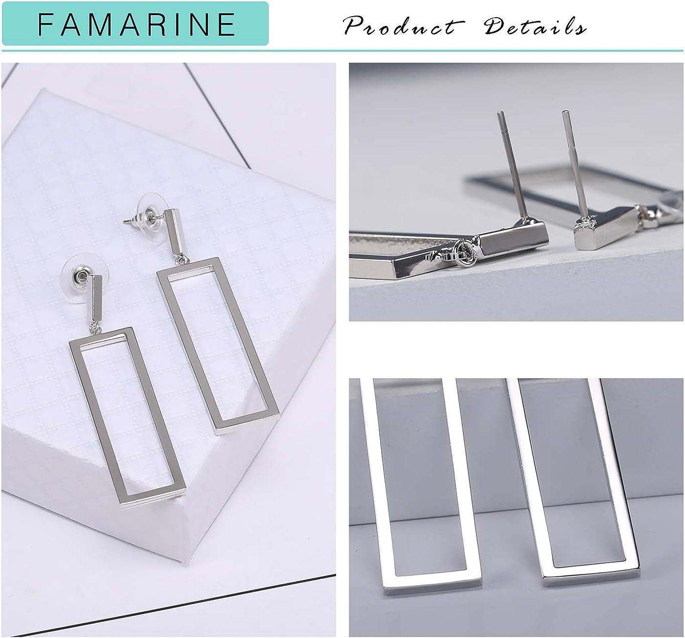 FAMARINE Gold Geometric Drop Earrings Rectangle Dangle Earrings for Women Girls Costume Jewelry
