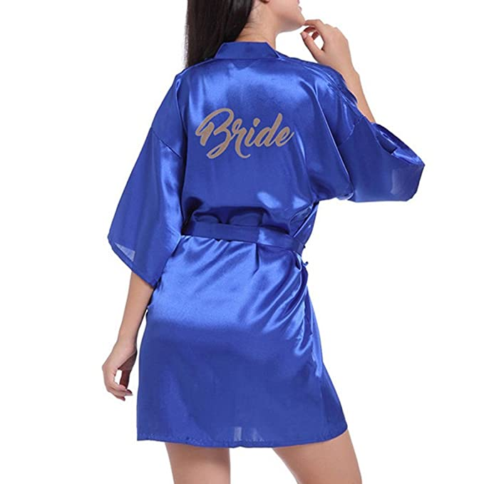 Huateng Novia de la Boda Robe Satin Rayon Bata de Dormir camisón para Mujer Kimono Ropa de Dormir Vestidos Robe camisón para Mujer 12 Colores S-2XL: ...