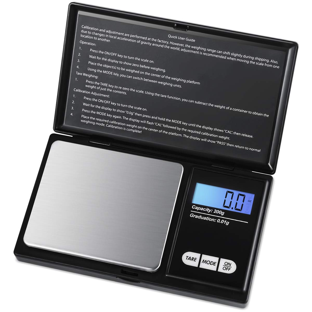AMIR Digital Pocket Scale, 200g 0.01g/ 0.001oz Pocket Scale, Lab Instruments Scale with 7 Units, LCD Backlit Display, Tare Function, Auto Off, Stainless Steel & Slim Design (Battery Included)