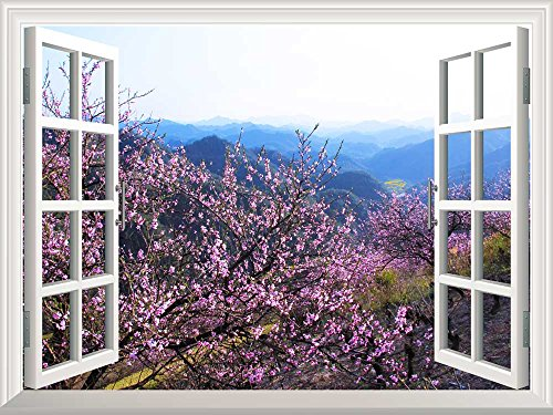 Removable Wall Sticker Wall Mural Spring Flowers in the Valley Creative Window View Wall Decor