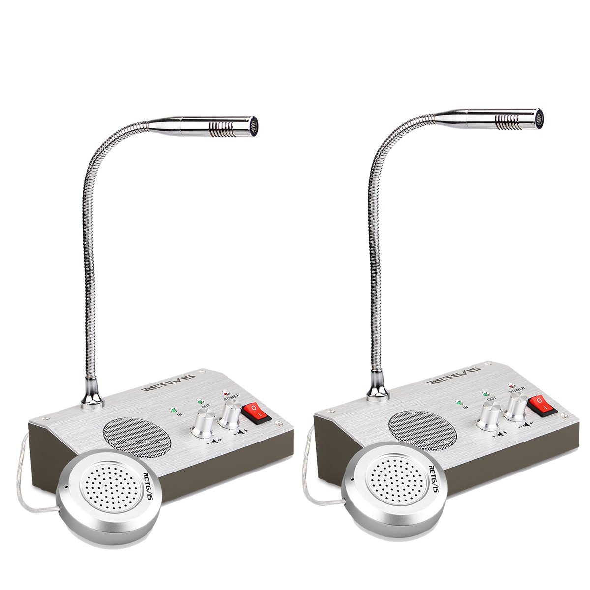 Retevis RT9908 Intercomunicador Ventanilla Sistema de Intercomunicació n Ventana Dual Walkie Talkie Micró fono de Base 220V 3W y Micró fono Remoto para Banco Estació n Gasolina (Plata, 2Pcs) EUA9101AX2