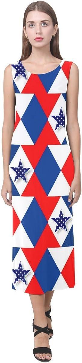 JC-Dress Sleeveless Dress Patriotic Triangles And Stars Party Beach Open Fork Long Dress