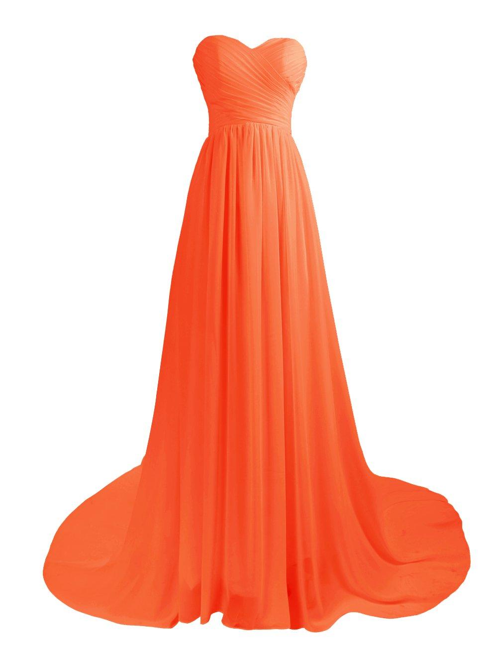 Dresstell 結婚式ドレス 花嫁ワンピース 二次会ドレス ロング丈 ベアトップ ビスチェタイプ レースアップ ブライズメイドドレス シンプルシフォン お呼ばれ フォーマルドレス 披露宴ドレス B00QI2TVNG JP5|オレンジ オレンジ JP5