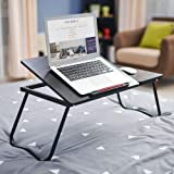 NAOR Folding Laptop Lap Desk - Work Table and Stand for Couch, Bed and Sofa Computer Use - Folding Legs, Adjustable Tilt - Use as Reading and Breakfast Tray (Black2)
