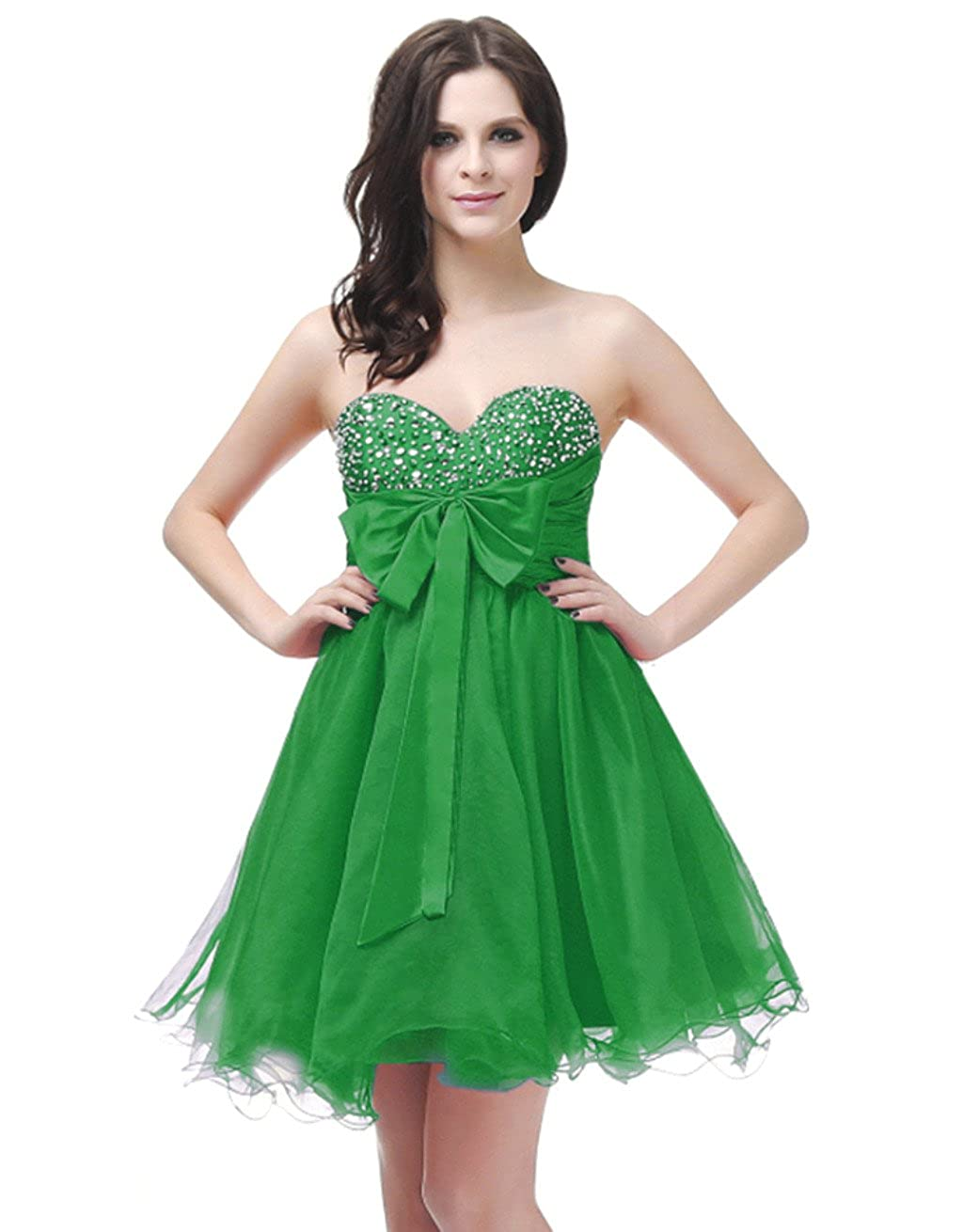 Emerald Vantexi Women's Organza Short Beaded Homecoming Dress Prom Gown