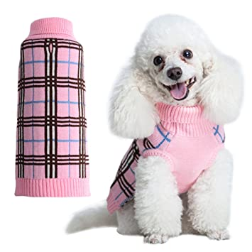 Amazon.com : Dog Sweater Plaid Doggie Clothes for Girls Pink ...