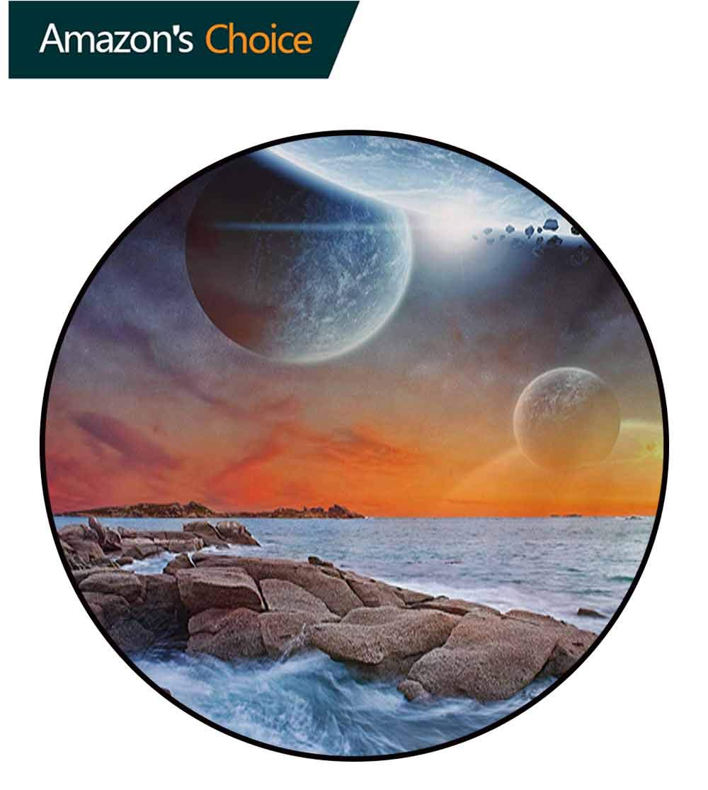 RUGSMAT Galaxy Non-Slip Area Rug Pad Round,Planet Landscape View from A Beautiful Rocky Beach Ocean Science Room Theme Protect Floors While Securing Rug Making Vacuuming,Diameter-71 Inch by RUGSMAT (Image #2)