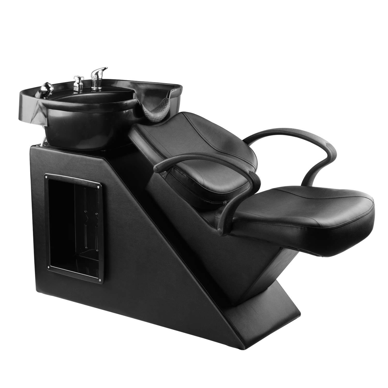Ainfox Shampoo Barber Backwash Chair, ABS Plastic Shampoo Bowl Sink Chair for Spa Beauty Salon (Black)