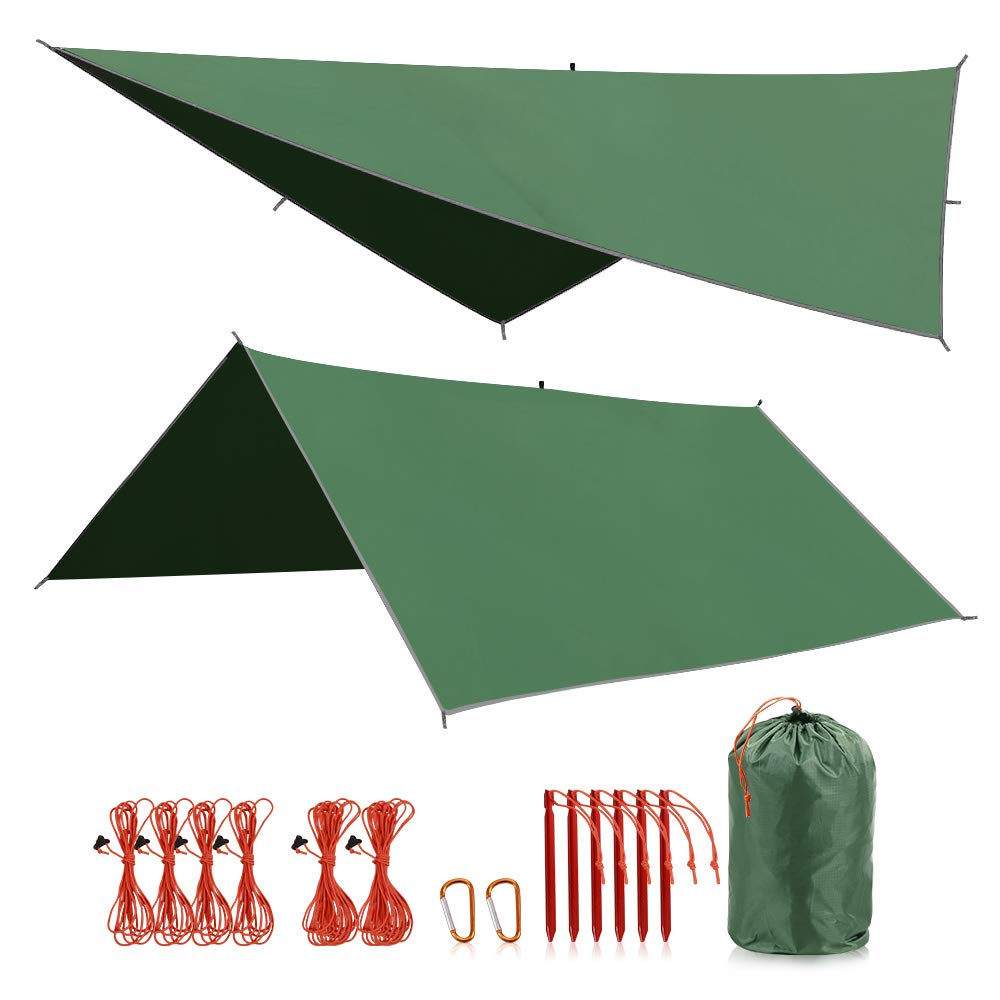 REDCAMP Hammock Rain Fly Tent Tarp Waterproof PU2000mm, 10x10ft Lightweight Rainfly for Outdoor Camping Hiking Backpacking, Green by REDCAMP