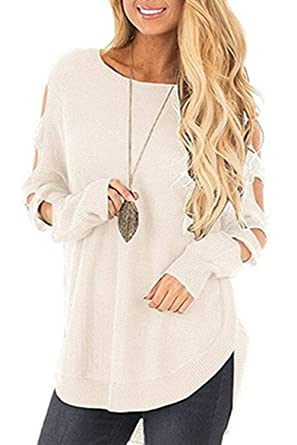 cfeb3a7740417 Femme Sweater T-Shirt Col Bateau Sexy Shirt Pull Manche Longue Chandail Top  Tricot Casual