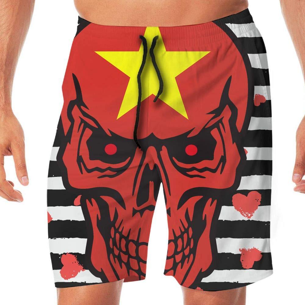 STDKNSK9 Mens Vietnam Flag Skull Board Shorts Beach Pants No Mesh Lining