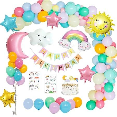 MMTX Decoraciones fiesta Cumpleaños Pastel, Feliz Cumpleaños Tema del cielo con pancarta de Happy Birthday, Dom Luna Nubes Arco iris Estrella Globo ...