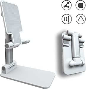 Adjustable Phone Stand Holder, ZHIKE Foldable Tablet Stand Mobile Phone Mount for Desk Compatible with Samsung Galaxy ipad Mini iPhone 11 Series X Xs max All Smartphones Smartphone, Kindle (White)
