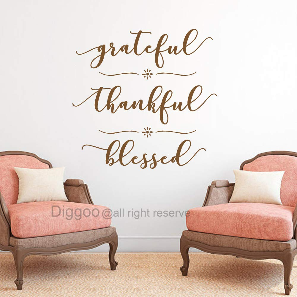 """DIGGOO Grateful Thankful Blessed Wall Decal Quote Faith Vinyl Lettering Thanksgiving Decor Living Room Sticker (Dark Brown,15.5"""" h x 16"""" w)"""