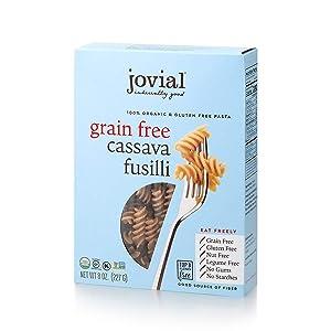 Jovial Grain-Free Cassava Fusilli | Cassava Pasta | Paleo Pasta | Grain-Free | Certified Gluten-Free | 100% Organic Pasta | USDA Certified Organic | Non-GMO | High-Fiber | 8 oz (1 pack)